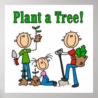 Strichmännchen-Pflanze ein Baum-T-Shirts und Gesch Poster