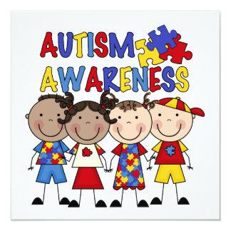 Strichmännchen scherzt Autismus-Bewusstsein Quadratische 13,3 Cm Einladungskarte