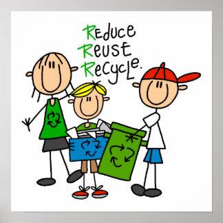 Strichmännchen verringern Wiederverwendung recycel Poster