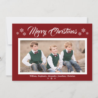 Knit Red Green Photo Merry Christmas Snowflakes