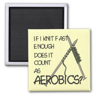 Strickender Aerobics Quadratischer Magnet