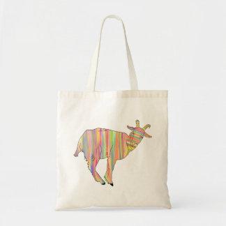 Stripy bunte lustige Ziegen-Kunst-Tierentwurf Tragetasche