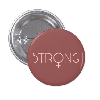 strong, woman, pink, runder button 3,2 cm