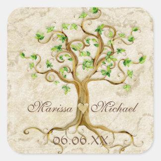 Strudel-Baum-Wurzeln Antiqued Hochzeits-zusammenpa Quadratsticker
