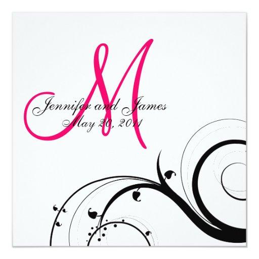 Strudel-Monogramm-Hochzeit retten die Quadratische 13,3 Cm Einladungskarte