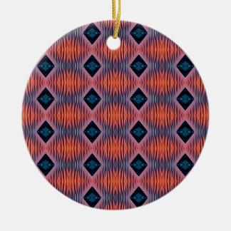 Strukturierter Pfirsich-blaues modernes Stammes- Rundes Keramik Ornament