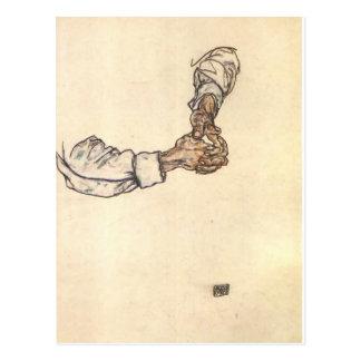 Studie Egon Schiele- der Hände Postkarte