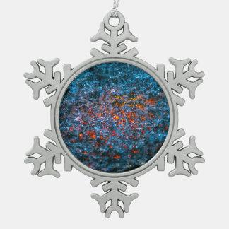 Studie im Aquarell - Orange Schneeflocken Zinn-Ornament