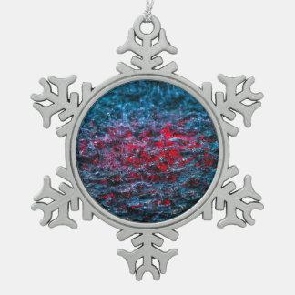 Studie im Aquarell - Rot Schneeflocken Zinn-Ornament