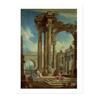 Studieren von Perspektive unter römischen Ruinen Postkarte