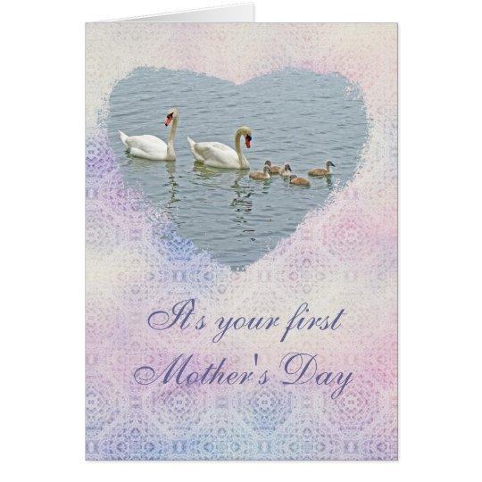 Stummer Schwan Famly der Mutter Tages Karte