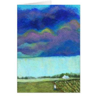 Sturm-Wolken-Bauernhof-Garten-ursprüngliche Karte