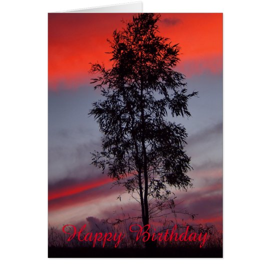 Stürmische Sonnenuntergangraum-Geburtstagskarte Grußkarte