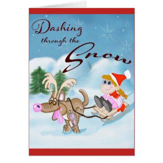 Stürzen durch die Schnee-Weihnachtskarte Karte