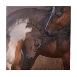 Stuten-und Fohlen-Kunst-Fliese Fliese
