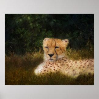 Stützender Gepard an der versteinerten Kante Poster