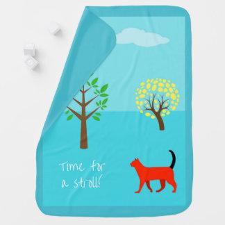 StylishTurquoise Baby-Decke mit einer Katze