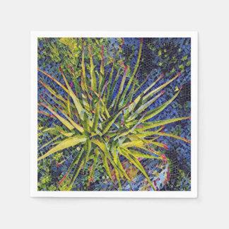 Stylized Aloe-Mosaik-Pflanzen-Papierserviette Servietten