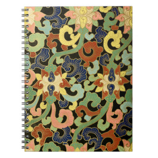 Stylized Iris-Blumen-Muster Spiral Notizblock