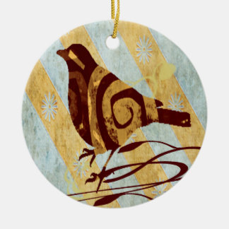 Stylized Vogel und Wirbel Keramik Ornament