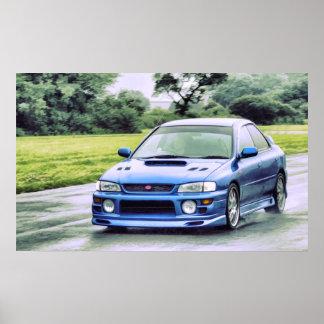 Subaru Impreza emballant sous la pluie Posters