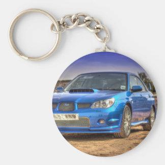 "Subaru Impreza WTI ""Hawkeye"" im Blau Standard Runder Schlüsselanhänger"
