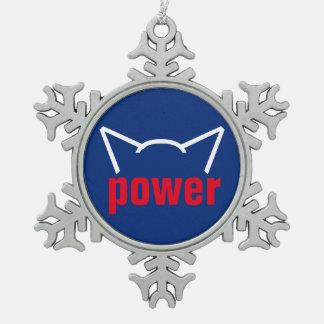 Subtiler Pussy-Power-Katzen-Ohr-Widerstand-weißes Schneeflocken Zinn-Ornament