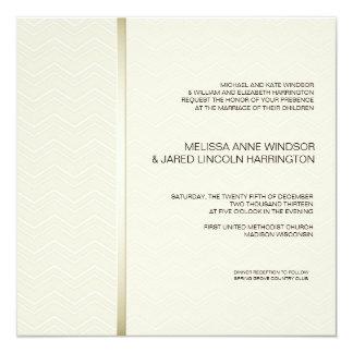 Subtiles Zickzack Ecru auf Elfenbein-modernem Quadratische 13,3 Cm Einladungskarte