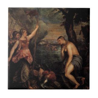 Succouring Religion Spaniens durch Titian Keramikfliese