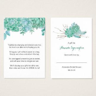 Succulent kein Verpackungs-Brautpartyantragumbau Visitenkarte