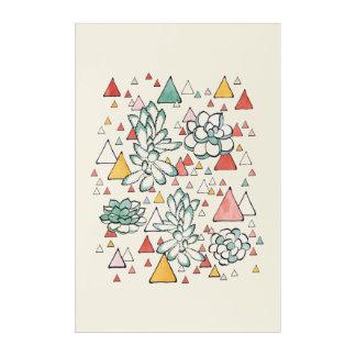 Succulent-und Dreiecke Acrylwand-Kunst Acryl Wandkunst