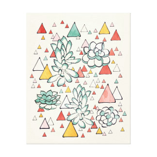 Succulent-und Dreiecke Leinwand-Drucke Leinwanddruck