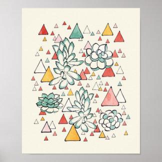 Succulent und Dreiecke Plakat