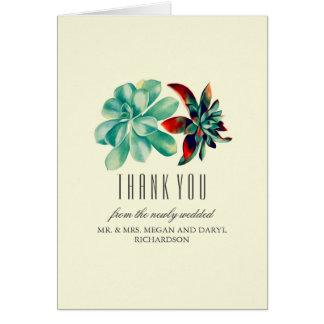 Succulents-aquamarine Hochzeit danken Ihnen Karte
