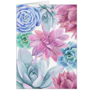 Succulents-modernes schickes weißes BlumenChic Karte