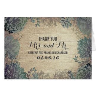 Succulents-rustikale hölzerne Hochzeit danken Karte