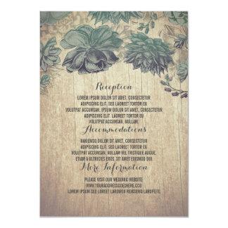 Succulents-rustikale hölzerne Hochzeits-Details Karte