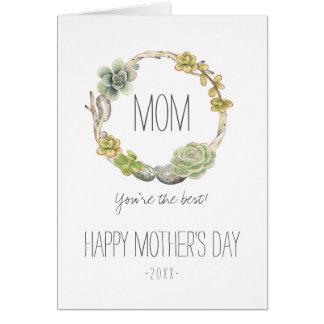 Succulents, Zweige und der Tag der Mutter der Karte