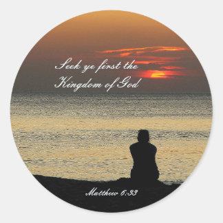 Suchen Sie erstes Reich Gottes, Matthew 6, Runder Aufkleber