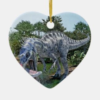 Suchomimus Dinosaurier, der einen Haifisch in Keramik Ornament