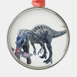 Suchomimus Dinosaurier, der einen Haifisch isst Silbernes Ornament
