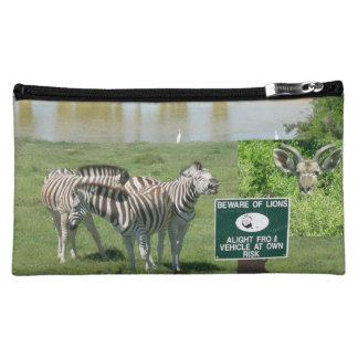 Südafrikanische Zebras-und Löwe-Kosmetik-Tasche Kosmetiktasche