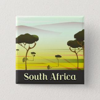Südafrikanisches LandschaftsAbends-Reiseplakat Quadratischer Button 5,1 Cm