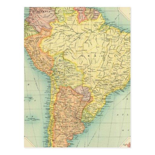 Südamerika politisch postkarte