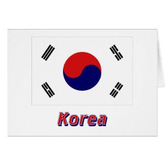 Südkorea-Flagge mit Namen Karte