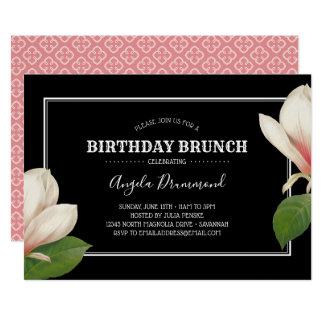 Südliche Magnolien-Geburtstags-Brunch-Schwarzes Karte