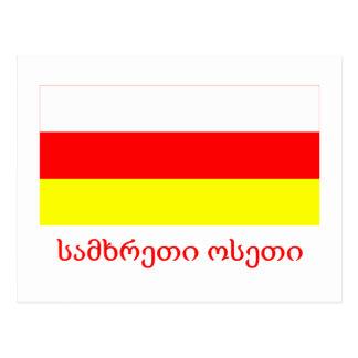 Südossetien-Flagge mit Namen in georgischem Postkarten