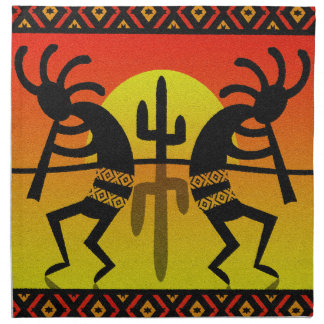 SüdwestenKokopelli Kaktus Triball Entwurf Stoffserviette