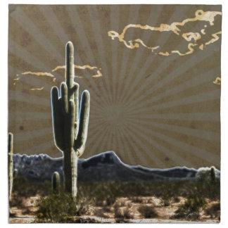 südwestliche Kunst Wüstesaftiger Saguaro-Kaktus Stoffserviette