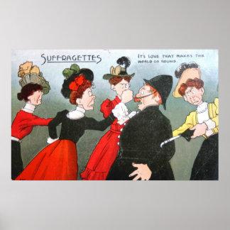 Suffragettes-politischer Cartoon Posterdruck